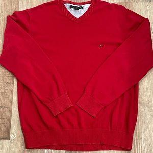Tommy Hilfiger V-neck Sweater in Red